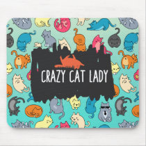 Crazy Cat Lady Cute and Playful Cat Pattern Mouse Pad