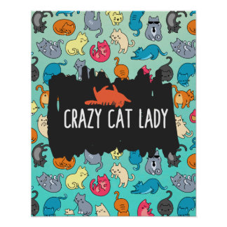 Crazy Cat Lady Cute and Playful Cat Pattern Poster