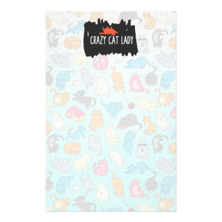 Crazy Cat Lady Cute and Playful Cat Pattern Stationery