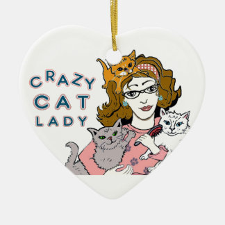 Crazy Cat Lady Double-Sided Heart Ceramic Christmas Ornament
