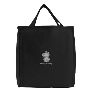 Crazy Cat Lady Embroidered Tote Bag