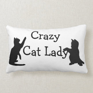 Crazy Cat Lady Fun Animal Art Lumbar Pillow
