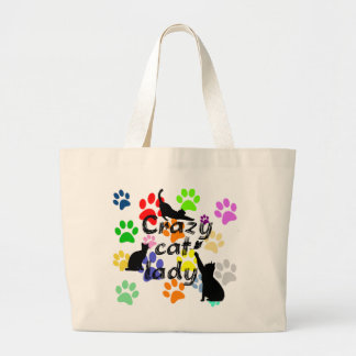 Crazy Cat Lady Fun Funny and Cool Playful Cats Large Tote Bag