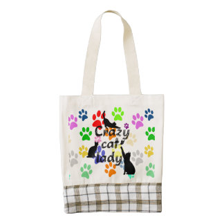 Crazy Cat Lady Fun Funny and Cool Playful Cats Zazzle HEART Tote Bag