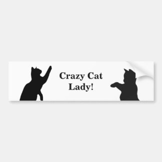 CRAZY CAT LADY Fun Quote for Cat Lovers Bumper Sticker