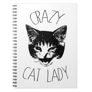 Crazy Cat Lady, Funny Kitten Face Spiral Note Books