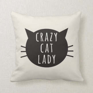 Crazy Cat Lady Funny Pillow Ivory