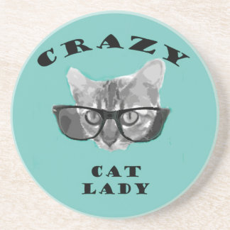 Crazy Cat Lady Funny Slogan with Hipster Glasses Sandstone Coaster