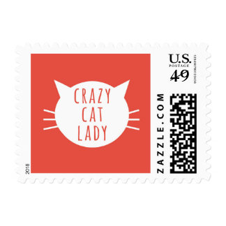 Crazy Cat Lady Funny White Red Whiskers Postage Stamp