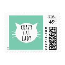 Crazy Cat Lady Funny White Whiskers Postage