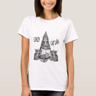 Crazy Cat Lady, Gnome Woman, Bengal Cats, Drawing T-Shirt