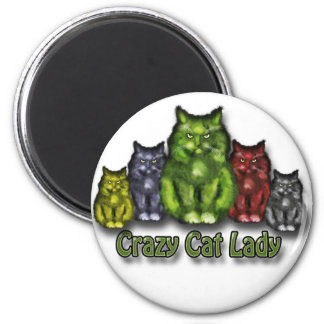 Crazy Cat lady Imán Redondo 5 Cm
