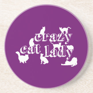 Crazy Cat Lady (in all colours) Sandstone Coaster