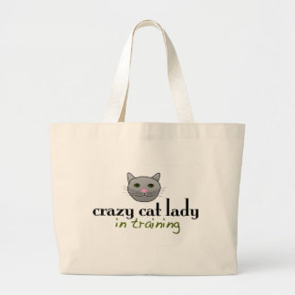 Crazy cat lady in training tote bags