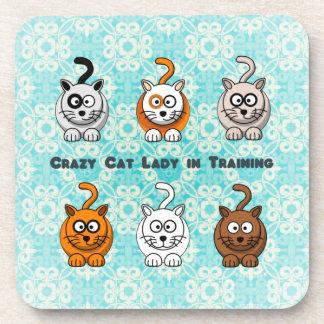 Crazy Cat Lady In Training Cork Coaster Set