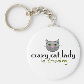 Crazy cat lady in training key chain