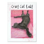 "Crazy Cat Lady Indie Birthday Invites 4.5"" X 6.25"" Invitation Card"