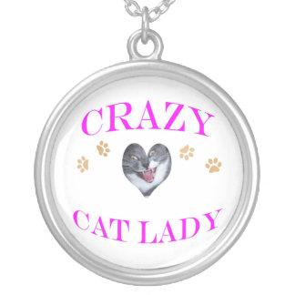 Crazy Cat Lady Magenta Round Pendant Necklace