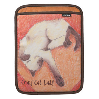 Crazy Cat Lady orange siamese iPad Sleeve