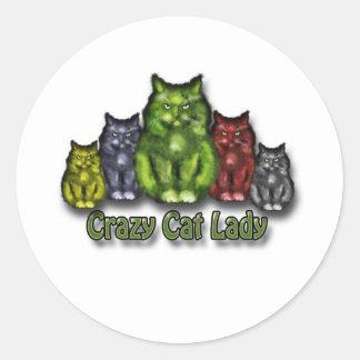 Crazy Cat lady Pegatina Redonda
