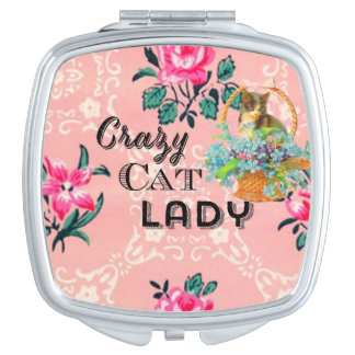 Crazy cat lady pink vintage mirror
