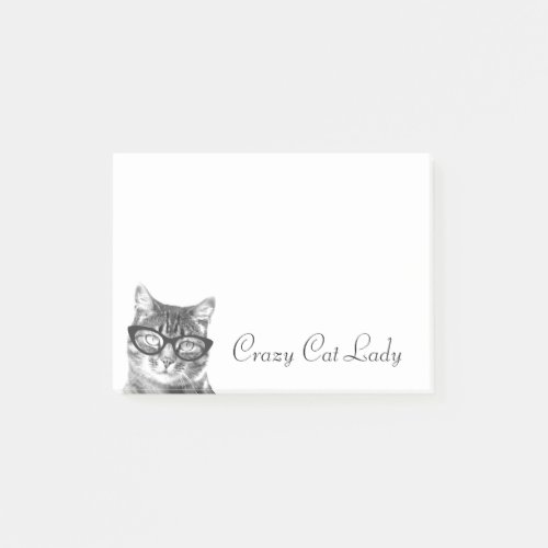 Crazy cat lady Post-it® notes | kitty in glasses