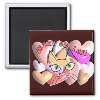 Crazy Cat Lady PUFFY HEARTS and Cat Design 2 Inch Square Magnet