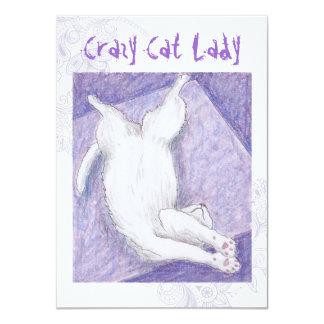 Crazy Cat Lady purple indie birthday invites