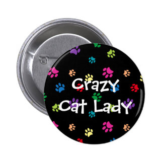 """Crazy Cat Lady"" Rainbow Painted Paws 2 Inch Round Button"