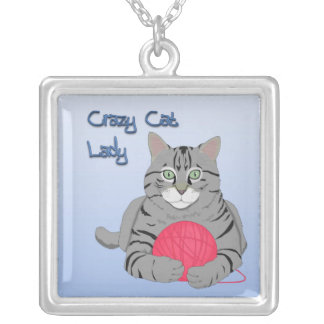 Crazy Cat Lady Silver Plated Necklace