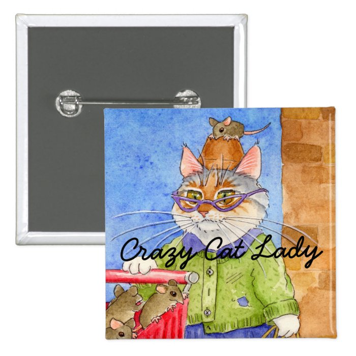 Crazy Cat Lady square pinback Pinback Button