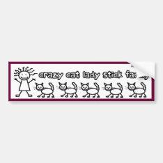 Crazy Cat Lady Stick Family Funny Cartoon Bumper Sticker at Zazzle