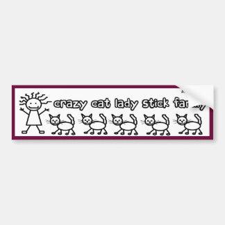 Crazy Cat Lady Stick Family Funny Cartoon Bumper Sticker