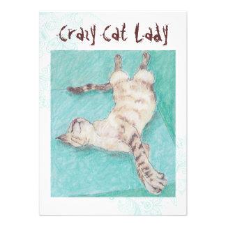 Crazy Cat Lady turquoise indie birthday invites