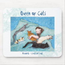 Crazy Cat Lady turquoise indie mouse pad