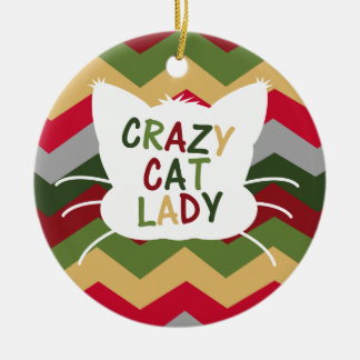 Crazy Cat Lady with Christmas Color Chevron Ceramic Ornament