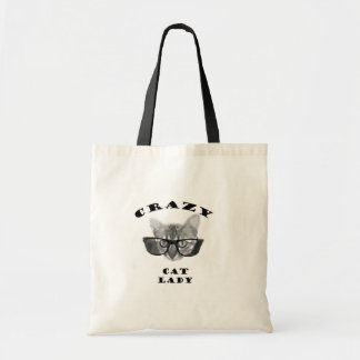 Crazy Cat Lady with Hipster Glasses Tote Bag