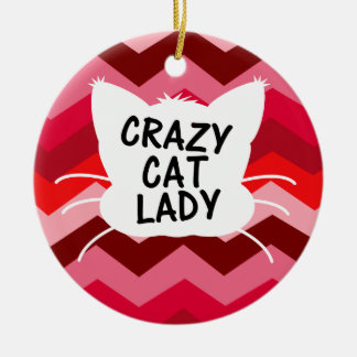 Crazy Cat Lady with Red Chevron Pattern Ceramic Ornament