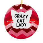 Crazy Cat Lady with Red Chevron Pattern Double-Sided Ceramic Round Christmas Ornament