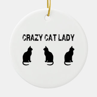 Crazy Cat Lady With Three Cats Ceramic Ornament