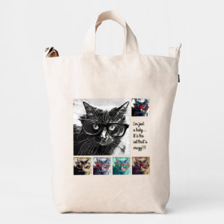"""""""Crazy Cat"""" Lady's Tote! cute & funny! Duck Bag"""