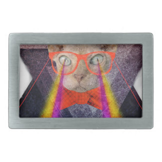 Crazy Cat Laser Beam Fantasy Rectangular Belt Buckle