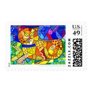 Crazy Cat Quilt Postage Stamps