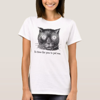 Crazy Cat with Clock Eyes Tee Shirt