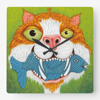 Crazy Cat with Fish Clock