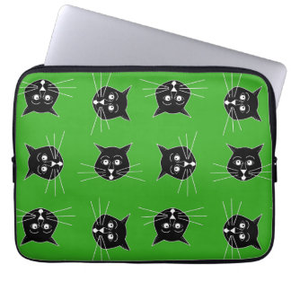 Crazy Cats on Green Background on Laptop Sleeve