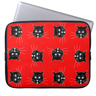 Crazy Cats on Red Background Laptop Sleeve