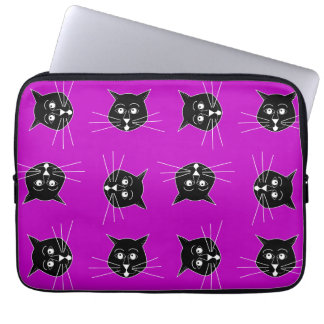 Crazy Cats Purple Background on Laptop Sleeve