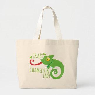 Crazy chameleon lady large tote bag