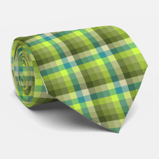 Crazy Check Plaid Lime Single-Sided Neck Tie